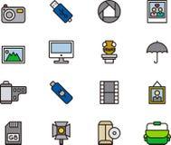 Insieme delle icone della macchina fotografica e di fotografia Fotografie Stock Libere da Diritti