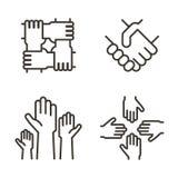 Insieme delle icone della mano che rappresentano associazione, comunità, carità, lavoro di squadra, affare, amicizia e celebrazio