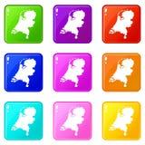 Insieme delle icone 9 della mappa dell'Olanda Fotografia Stock Libera da Diritti