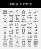 Insieme delle icone della mobilia nella linea stile sottile moderna Fotografia Stock