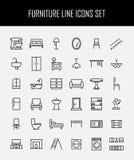 Insieme delle icone della mobilia nella linea stile sottile moderna Immagini Stock Libere da Diritti