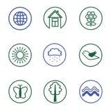 Insieme delle icone della natura Fotografia Stock
