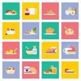 Insieme delle icone della prima colazione nello stile piano Fotografia Stock