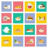 Insieme delle icone della prima colazione nello stile piano Immagini Stock