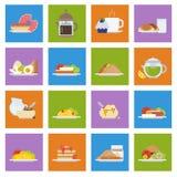 Insieme delle icone della prima colazione nello stile piano Fotografie Stock