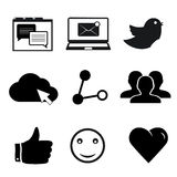 Insieme delle icone della rete sociale per il web ed il cellulare Fotografie Stock Libere da Diritti