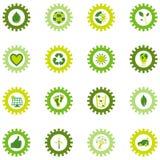 Insieme delle icone della ruota di ingranaggio dal bio- eco e dai simboli ambientali Fotografie Stock