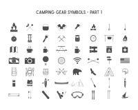 Insieme delle icone della siluetta di vettore e delle forme con l'ingranaggio all'aperto differente, simboli di campeggio per cre illustrazione vettoriale