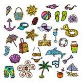 Insieme delle icone della spiaggia Immagini Stock