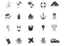 Insieme delle icone della spiaggia e di viaggio Fotografia Stock Libera da Diritti