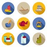 Insieme delle icone della stazione termale con le ombre Fotografia Stock Libera da Diritti