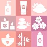 Insieme delle icone della stazione termale su fondo rosa Immagini Stock Libere da Diritti
