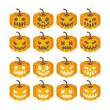 Insieme delle icone della zucca di Halloween Illustrazione piana di Halloween di J royalty illustrazione gratis