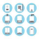 Insieme delle icone delle caldaie a gas bianche differenti su fondo blu Fotografie Stock