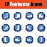 Insieme delle icone delle calzature Immagine Stock