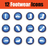 Insieme delle icone delle calzature Fotografia Stock