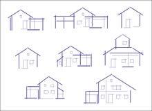 Insieme delle icone delle case illustrazione di stock