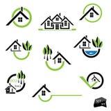 Insieme delle icone delle case per l'affare del bene immobile Immagini Stock Libere da Diritti