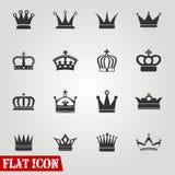 Insieme delle icone delle corone Fotografia Stock