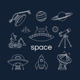 Insieme delle icone dello spazio Fotografia Stock