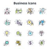 Insieme delle icone di affari nella linea progettazione piana di vettore Symb corporativo Fotografia Stock