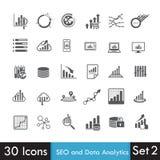 Insieme delle icone di analisi dei dati illustrazione di stock