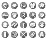 Insieme delle icone di baseball nella progettazione piana di stile Fotografia Stock