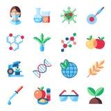 Insieme delle icone di biotecnologia di vettore di Digital illustrazione di stock