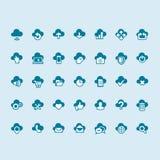 Insieme delle icone di calcolo della nuvola Fotografia Stock Libera da Diritti