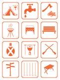 Insieme delle icone di campeggio dell'attrezzatura Fotografia Stock Libera da Diritti