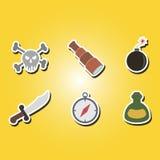 Insieme delle icone di colore con il simbolo del pirata Fotografia Stock