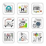Insieme delle icone di concetto di progetto di scienza e di istruzione Immagini Stock Libere da Diritti