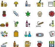 Insieme delle icone di dipendenza e della droga Fotografia Stock Libera da Diritti