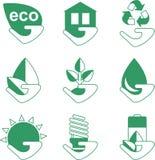 Insieme delle icone di ecologia con la mano Fotografie Stock