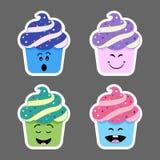 Insieme delle icone di emojis del bigné Immagine Stock Libera da Diritti