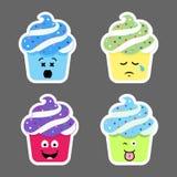 Insieme delle icone di emojis del bigné Immagini Stock Libere da Diritti