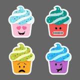 Insieme delle icone di emojis del bigné Fotografia Stock