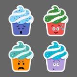 Insieme delle icone di emojis del bigné Fotografia Stock Libera da Diritti