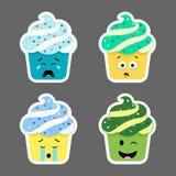 Insieme delle icone di emojis del bigné Fotografie Stock Libere da Diritti