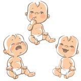 Insieme delle icone di emozione del bambino Fotografie Stock