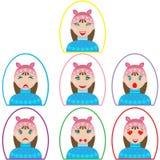 Insieme delle icone di emozione ragazza in vestiti di inverno nel telaio ovale nello stile piano illustrazione di stock