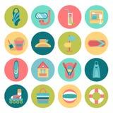 Insieme delle icone di estate Fotografie Stock