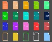 Insieme delle icone di estensione del testo Fotografie Stock