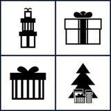 Insieme delle icone di festa, Natale Fotografia Stock Libera da Diritti
