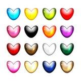 Insieme delle icone di forma del cuore per la vostra progettazione Immagini Stock