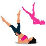 Insieme delle icone di forma fisica, Pilates, illustrazione di vettore Fotografie Stock Libere da Diritti