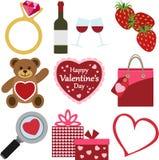Insieme delle icone di giorno del ` s del biglietto di S. Valentino Fotografia Stock