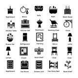 Insieme delle icone 4 di glifo della decorazione e dell'interno Fotografie Stock