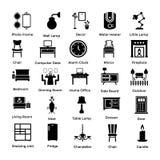 Insieme delle icone 6 di glifo della decorazione e dell'interno Fotografia Stock