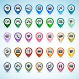Insieme delle icone di GPS Fotografia Stock Libera da Diritti